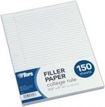 """Notebook Filler Paper, College Ruled, 8"""" x 10.5"""", 150 Sheets"""
